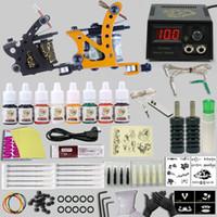 Kit de Tatuagem profissional 2 Tatuagem Machine Guns 6 Cores Tinta Pigmento Poder Agulha Suprimentos Set Completa Tatuagem Kits Frete grátis