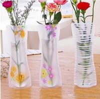 Unbreakable faltbare mehrfachverwendbare Plastikblumen-Vase kreative Folding Magie PVC Vase 11.7cm * 27cm Mix Color Home Decor