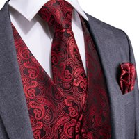 Trasporto veloce Gilet nuovo rosso Paisley Gilet degli uomini degli uomini di seta Gilet vestito del partito commerciali Gilet con i fazzoletti gemelli Tie MJ-0106