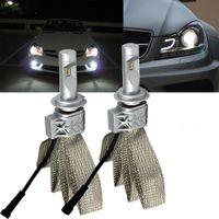 Paire LED H7 phares avant de voiture 5S tête Ampoule Lampe 55W 12000LM Fanless ZES Chips blanc 6500K bande de refroidissement en cuivre H4 H11 H11 9005