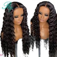 30 polegada de comprimento da onda profunda sintética rendas frente Wigs brasileira Glueless descorados Nós Pré arrancada rendas frontal peruca da Mulher Negra