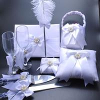 جميلة أبيض زهرة خاتم الزواج وسادة زهرة سلة الزوار كتاب حامل ريشة القلم صالح 4 في 1 مجموعة