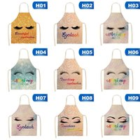 Cute Eyelash Pattern Cotton and Linen Apron Adults Bibs Cook...