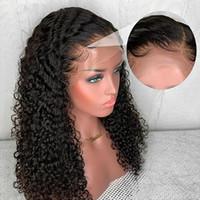 13 * 4 del frente del cordón descarado rizado pelucas del pelo humano de Remy brasileño para las mujeres sin cola 130% Natural Color blanqueados Nudos Sassoon Bob