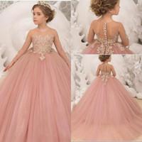 Nouvelles robes de filles de fleurs roses pour mariages vintage manches longues pure colle tulle dentelle appliques robe de boules de robe des filles