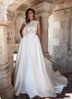 Milla Nova Cap Sleeves Satin A Line Wedding Dresses Sheer Lace Applique Top Backless Sweep Train Bridal Wedding Gowns H066