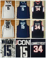 006ebe97734 New Arrival. Mens Kemba Jersey NCAA Uconn Huskies College 15 WALKER 34 RAY  ALLEN White Blue 100% Stitched College Basketball ...