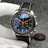 44MM الكوارتز كرونوغراف تاريخ رجل الساعات الأيدي الحمراء حزام من الجلد الأسود الحافة الثابتة مع حلقة أعلى تظهر علامات أداة تحديد المسافات بسرعة