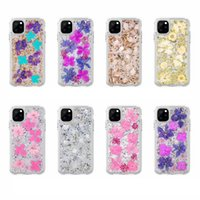 Feuille bling Confetti Flake vraie fleur pour l'iphone 11 XR Pro XS MAX X (8 7 6) + Galaxy S10 S10e S9 dur PC + TPU Glitter Cover Shell Fashion