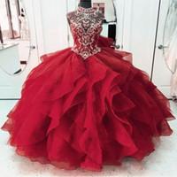 Robe rouge quinceanera robe de robe à boules d'épaule gonflé tulle tulle robe de bal dace-up doux 16 robes de forme