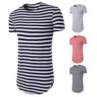 Estrenar rayada camiseta de los hombres de manga corta del O-Cuello Tops largo clásico del verano Camiseta básica para hombre Ropa de Calle