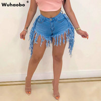Wuhaobo Plus Size S- 2XL Jeans Shorts Solid Color Fringed San...
