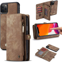 CaseMe multi-fonctionnelle détachable flip Zipper Wallet Phone Case pour iPhone 6 7 8plus x 11 11 Pro 12 12 Pro Max Samsung Note 20 Ultra