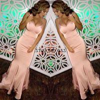 Beauté blush rose sirène Robes longues 2018 bretelles spaghetti femmes Longueur de sol Simple Cheap Party Evening Wear Les avis Pageant Dress