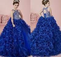 Cristal bleu étincelant robe de bal fleur fleur Gilr robe appliquée princesse anniversaire Patry robe fille Forma robes de reconstitution historique