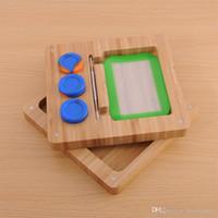 Bambu Ahşap Silikon Saklama Kutusu Konteyner Kavanoz Seti Taşınabilir Yenilikçi Tutucu Pişirme Mat Kaşık İçin Vape Wax Yağ Vaporizer Sıcak Kek DHL Ücretsiz