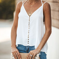 Womens Solid Tanks Fashion V- neck Vest Sleeveless Button Cas...
