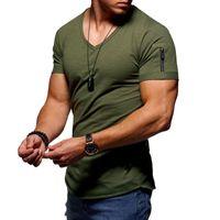 Cotton Causal Men's T-shirt V Neck Zipper Casual Cotton Top Fitness Bodybuilding Sport wear