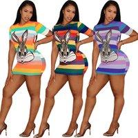 camicia estate donne Designer abiti a strisce animale Paillettes T di stampa del fumetto Abito di lusso D52708 sexy Vestitino aderente Sport