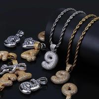 Erkekler Kadınlar Takı Hediye için Hip Hop Kabarcık Arapça Numarası kolye kolye Kübik Zirkon 0-9 Numaraları Charm Altın Gümüş Twisted Halat Zincir