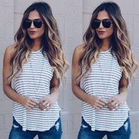Verão New Mulheres Roupa das senhoras de tiras de Regatas em torno do pescoço Casual Praia mangas Stripe solta shirt