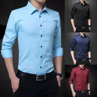 fipyjip Yeni Erkek Gömlek Uzun Kollu Casual Gömlek Erkekler Elbise İnce Katı İş Elbise Gömlek İlkbahar Sonbahar Erkekler ile