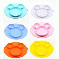 7 Cores bebés placa de silicone infantil bacia pratos placas bebé alimentação de silicone bacia de gel de sílica bebé crianças talheres M2107