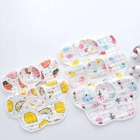 Bibs bibs الوليد الكرتون 8 طبقة 360 درجة الدورية البتلة مريلة حقيبة الأرز القطن طفل وشاح ماء اللعاب تغذية منشفة GGA2213
