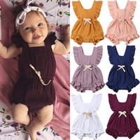Barboteuses Baby Girls Ruffle 11 Designs solide Bow Tie Coton unique poitrine Bracelet Ruffle Jumpsuit Bodies Filles Tenues 0-3T