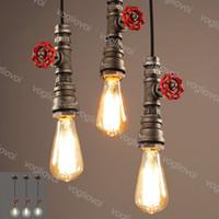 펜던트 램프 산업용 110V 220V 빈티지 워터 파이프 Edison 전구 로프트 레트로 바 천장 고정 장치 Luminarias DHL