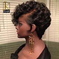 Bouncy 곱슬 픽시 레이스 프런트 인간의 머리 가발 여성을위한 흑인 레미 브라질 짧은 밥 앞발로 가발 jk 우아한 여왕