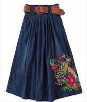 الجملة S-5XL حجم كبير طويل جان التنانير النسائية الدنيم التنانير الفتيات بوهيميا مطوي jupe الأزرق saia الشعبية غرزة الإناث تنورة مرونة الخصر