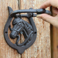 2 Pieces Cast Iron Door Knocker Horse Head with Handle Weste...