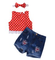 Boutique girl clothes set Toddler Kids Girls dot t shirt Top...
