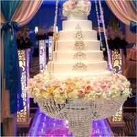 Lüks Kristal Asılı Kek Raf Düğün Pastası Standı Şeffaf Kristal Boncuk Akrilik çiçek standı düğün Masa Centerpiece