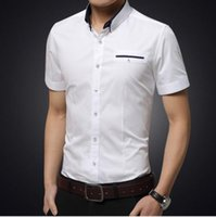 Pure Colour Turn Down Collar Mens Casual Shirts Short Sleeve...