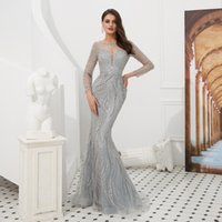 Sexy Long Sleeve Muslim Evening Party Dresses Jewel Beaded C...