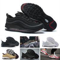 d0f641a3c0c NIKE Air max 97 97 sapatos para homens mulheres Bala Preta Triplo branco OG  Sliver Bullet