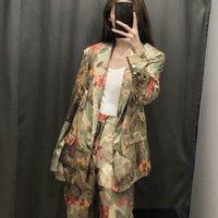 Kadınlar Blazer İlkbahar 2019 Yeni Moda Çiçek Baskılar Tam Kol Modern Lady Giyim Kadın Casual OUTWEAR Tops