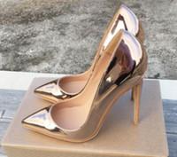 2019 Charol Oro rosa 8cm 12cm 10cm Código grande 44 Cúspide Zapatos individuales Fondo rojo para mujer Zapatos de tacón alto Tacón fino danza de boca superficial