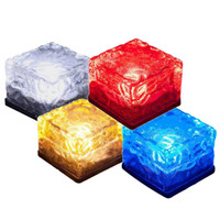 태양 광 조명 잔디 빛 라이트 지하 시뮬레이션 아이스 큐브 조명 태양 광 LED 램프 4 개의 LED 자동 조명 LED 벽돌 밤 램프