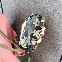 iPhone 11 pro XS MAX XR X 7 8 artı Vaka Rölyef Askeri Kamuflaj Desen Kapak Bileklikli ile For Lüks Tasarımcı Boyun askısı Telefon Kılıfları