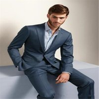 Custom made Top Selling New High Quality groom suits Bule su...