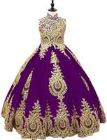 Amandabridal elegante abito di sfera del fiore del merletto ragazze Vestiti da matrimonio Abiti 2020 Collo di Applique puro Tulle Prima Comunione della festa di compleanno