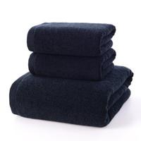 3pcs Atacado sólida Terry preto toalha de algodão conjunto de alta qualidade face mão pequena toalha e Grande Bath Shower Set toalhas de banho