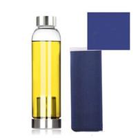 550 ml Yüksek Sıcaklığa Dayanıklı Cam BPA Ücretsiz Spor Su Şişesi Ile Çay Filtresi Demlik Isı Su Sürahi Koruyucu Çanta Çay Sürahi DHL 30 W