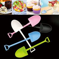 Bunter Einweg-Kunststoff-Kuchen-Löffel-Topf-Eiscreme-Scoop-Schaufel kleine Topf-Topf-Gebäck-Löffel WX9-1150