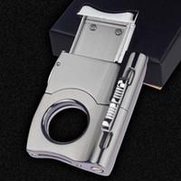 Fashion mini lighter design metallic stainless steel cigar cutter cigar scissor knife cigar accessories with gift box
