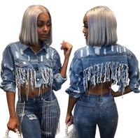Lüks Tasarımcı Demin Ceketler Kadınlar için Tasarım Püskül Tişörtü Bahar Sonbahar Moda Marka Ceket Rahat Asimetrik Uzunluk Streetwear