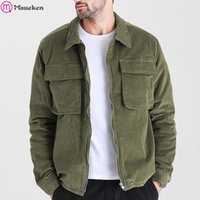 Corduroy Vintage Jacket Men Fashion Casual Men' s Jacket...